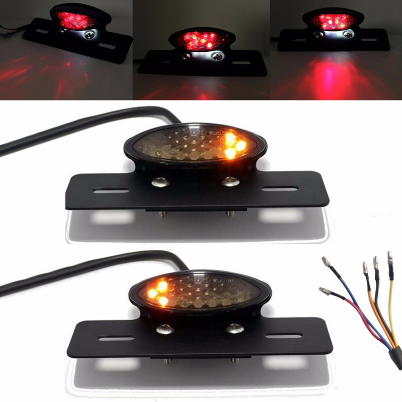 Motorcycle Bobber LED Tail Brake Light Red Yellow Rear Turn Signal License Number Plate Integrated font