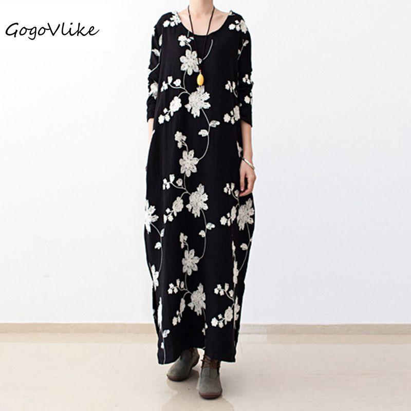 Linen embroidery dress 2017 spring original design women loose o neck cotton and linen one piece