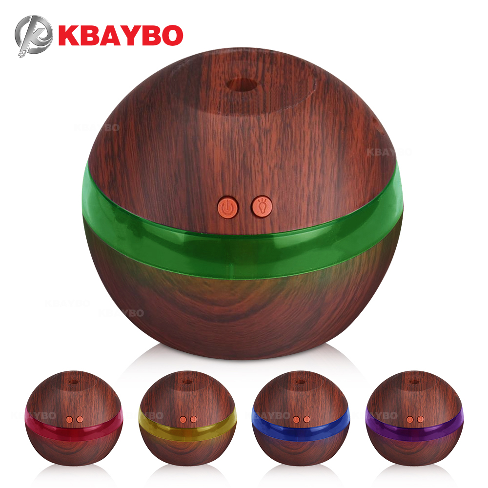 USB Ultrasonic Humidifier, 300ml Aroma Diffuser Essential Oil Diffuser Aromatherapy Mist Maker with 7 Color LED Light Wood grain hot sale humidifier aromatherapy essential oil 100 240v 100ml water capacity 20 30 square meters ultrasonic 12w 13 13 9 5cm