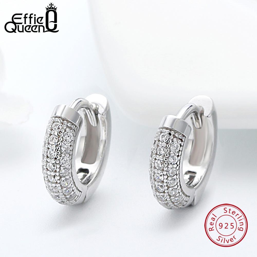 Effie Queen 925 Sterling Silver Vintage Earrings Women With Clear Zircon 10mm Small Hoop Earing Female Jewelry 2019 Trendy BE103