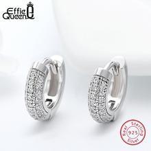 Effie queen 925 пробы серебряные винтажные женские серьги с прозрачным цирконием 10 мм маленькие серьги-кольца женские ювелирные изделия трендовые BE103