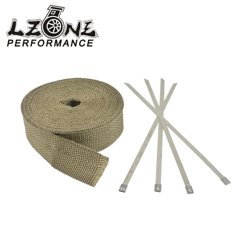LZONE-2 x 32' Premium Échappement Chaleur Wrap Wrap Collecteur Titane Lava Fiber + 4 pcs Liens JR1910T