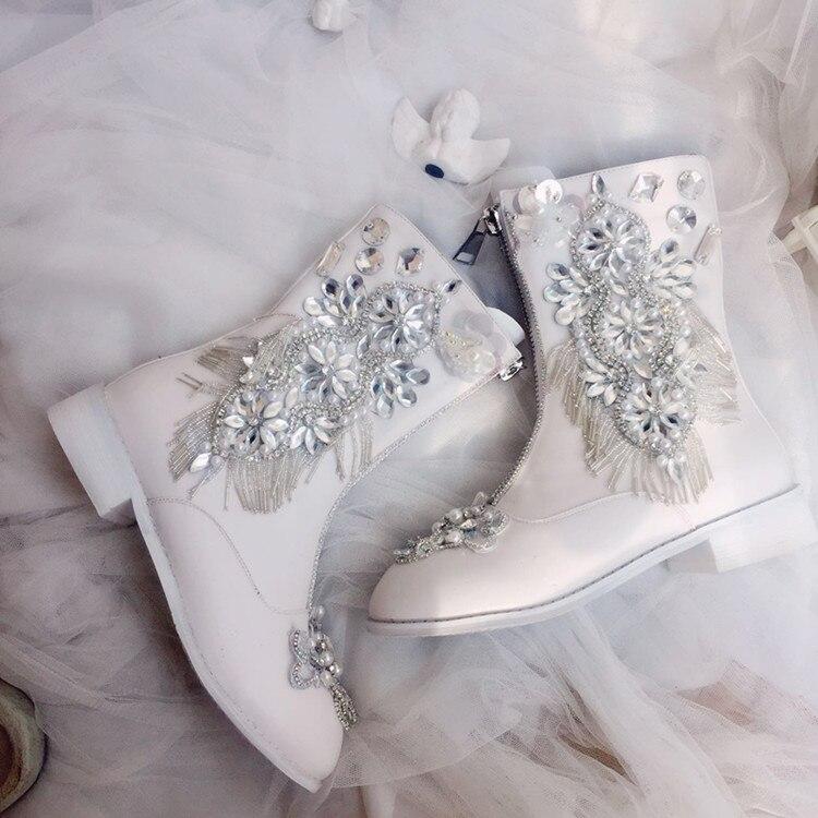 Blanc femmes chaussures mi-mollet Martin bottes avec cristal strass fleurs perle Tassle talon carré pour fille dame