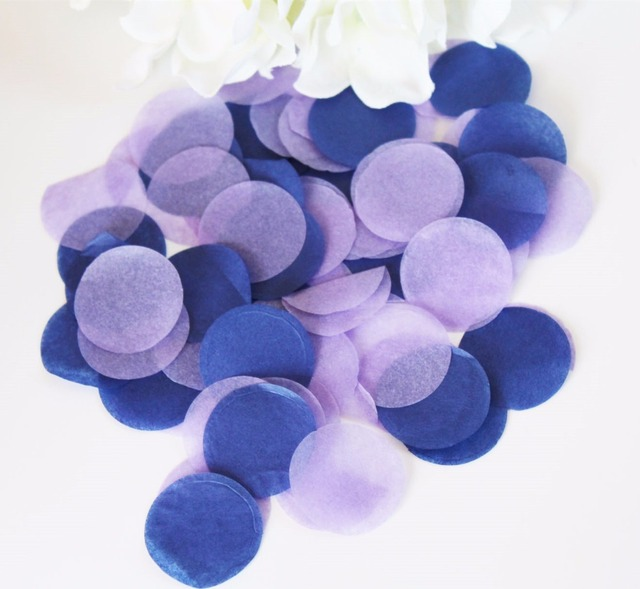 Lilac Navy Blue Circle Wedding Tissue Confetti Birthday Bridal Shower Party Decorations Biodegradable For Balloons