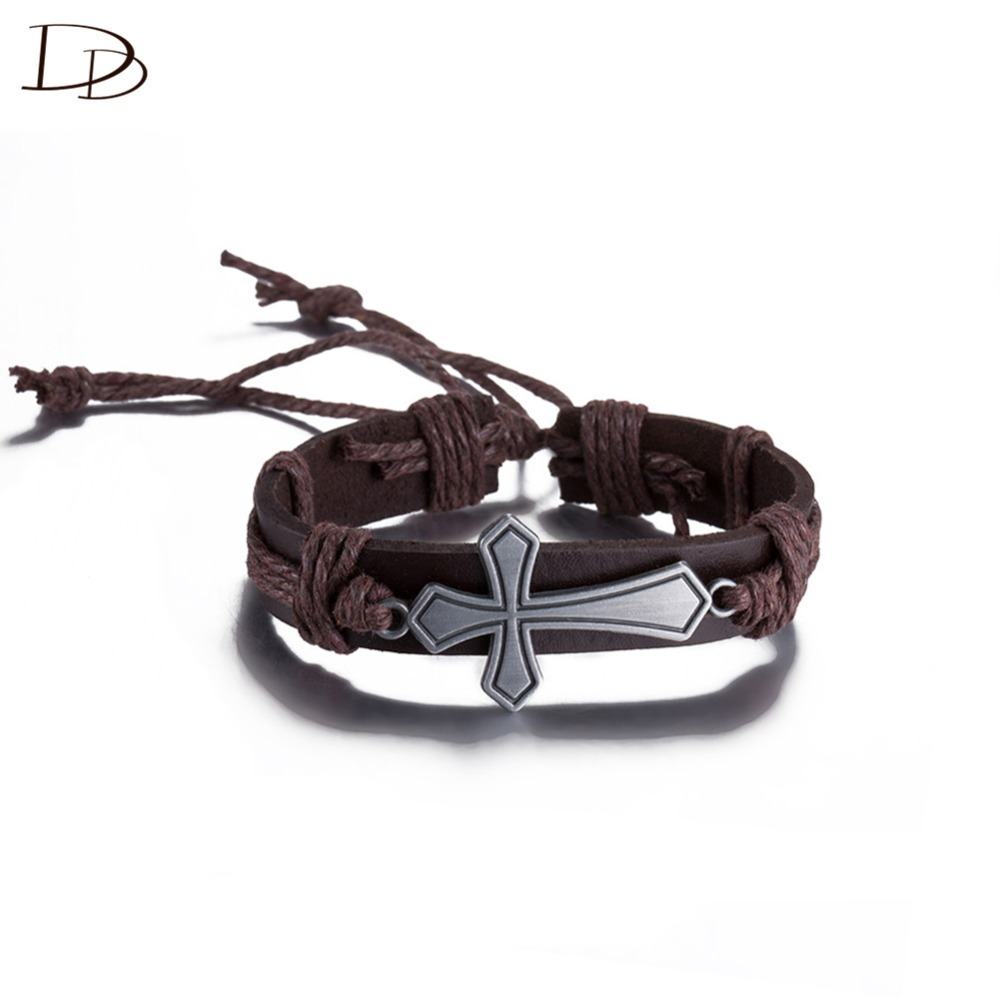 Wholesale Cross Leather Bracelet For Women Men Cool Style 30cm Adjustable  Size Rope Chain Pulseras Fashion