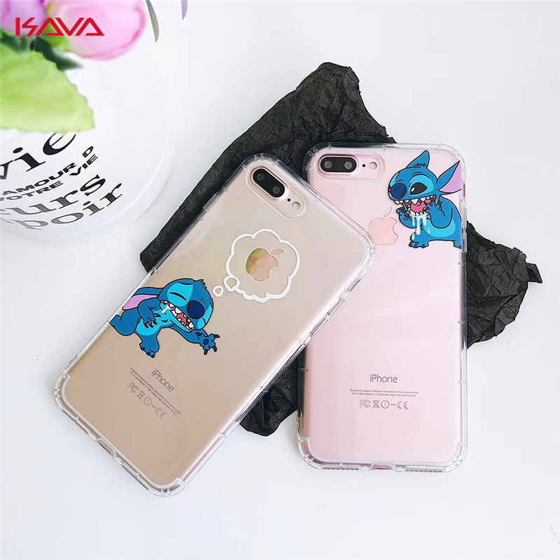 New Cartoon cover case for iphone 6 6S 7 8 plus X 10 XR XS MAX Stitch Transparent Lovely Fashion Funny soft silicon phone cases