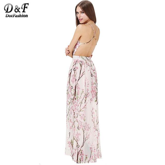 0a7fa6d06e Dotfashion Boho Dress 2016 Summer Fashion Women Dresses Sexy Elegant Party  Spaghetti Strap Backless Floral Print