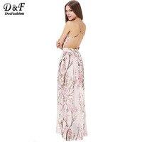 2014 Summer New Designer Fashion Women Sexy Elegant Apricot Spaghetti Strap Backless Florals Print Maxi Dress