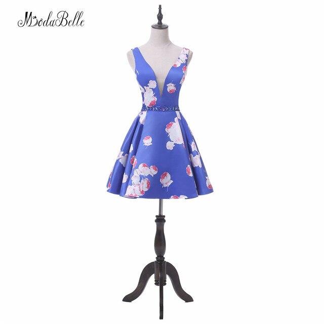 f23d8f2d8c modabelle 2018 Vintage Floral Blue Homecoming Dresses Short Juniors Robe De Cocktail  Flower Pattern Party Prom Dress women