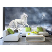 3D Custom Wallpaper For Walls Mural Home Decor Non Woven Waterproof White Horse Wall Paper For