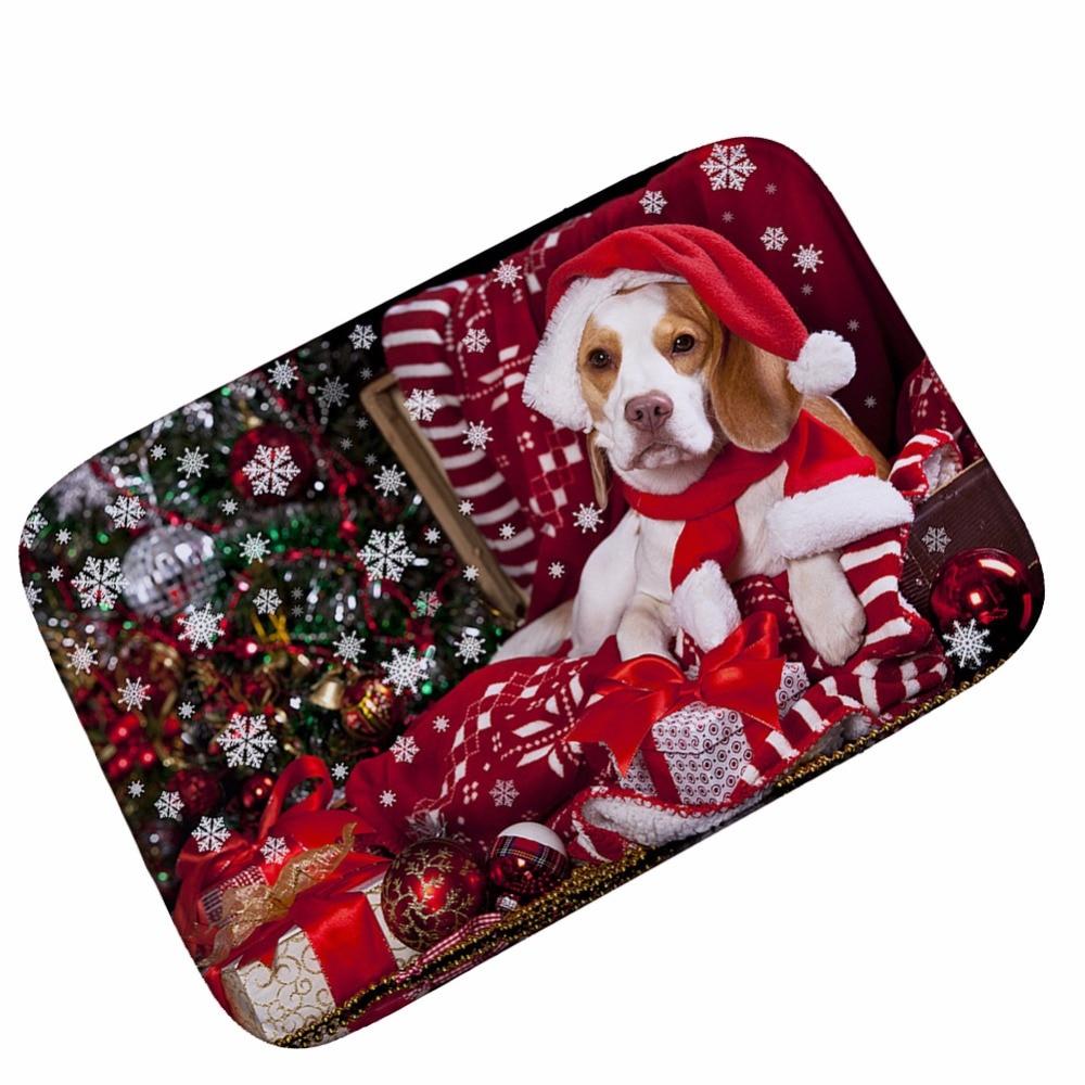 MDCT 40x60cm Cut Cartoon Doormats Merry Christmas Dog Cat Patern ...