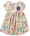 Летние детские девушки одеваются мультфильм граффити печати малышей детской одежды 100% хлопка детей платья случайные девушки одежда платье