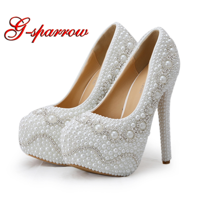 Wedding Shoes White Color Pearl Women High Heels with Matching Bag Platform Shoes Bridal Dress Pumps with Clutch Plus Size 45 arte lamp teapot a6380ap 1ab