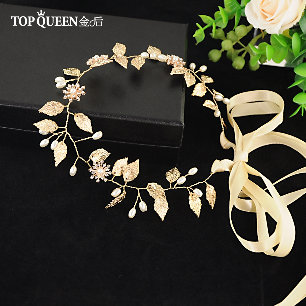 Image 2 - TOPQUEEN HP110 Bridal Headband Handmade Wedding Headpieces with True Pearl Gold Leaf and Diamond Beaded Hair Accessories-in Bridal Headwear from Weddings & Events