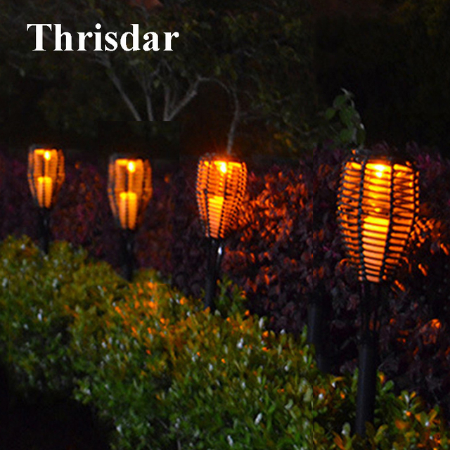 Thrisdar 4pcs Solar Tiki Rattan Flickering Torches Light Outdoor Garden Candle Lantern Landscape Patio