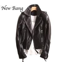 Черный из натуральной кожи куртка Для женщин мотоциклетные короткие Для женщин дубленка из натуральной кожи Курточка бомбер