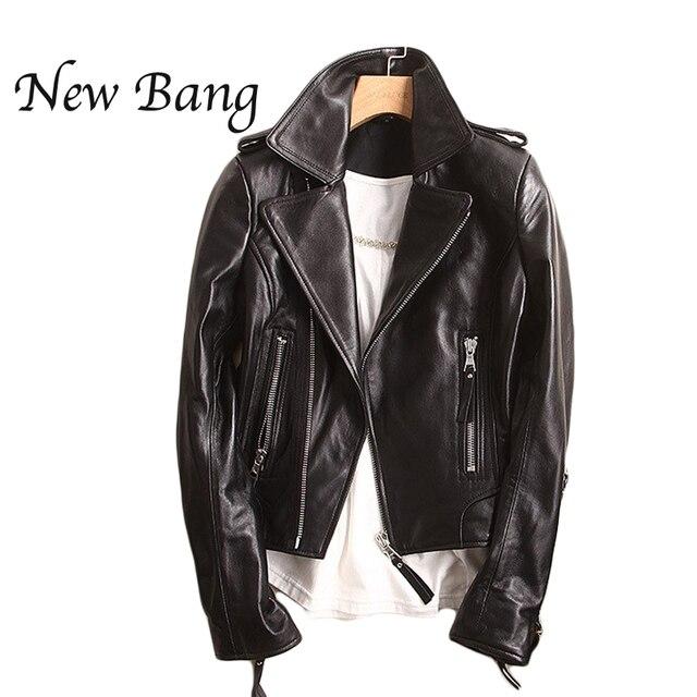 Black Genuine Leather Jacket Women Motorcycle Short Women S