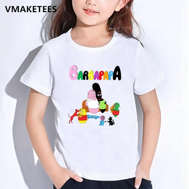 Kids Summer Short Sleeve Girls Boys T Shirts Cartoon Barbapapa
