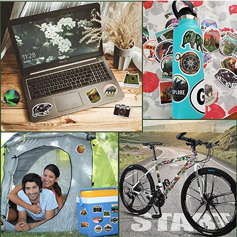 Image 5 - 50Pcs Camping Landscape Stickers Outdoor Adventure Climbing Travel Stickers for Computer Macbook Luggage Bicycle Laptop Sticker-in Laptop Skins from Computer & Office
