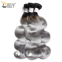 Doozy Ombre Color 1b/Grey Double Weft 3 Bundles Remy Body Wave Gray Brazilian Human Hair