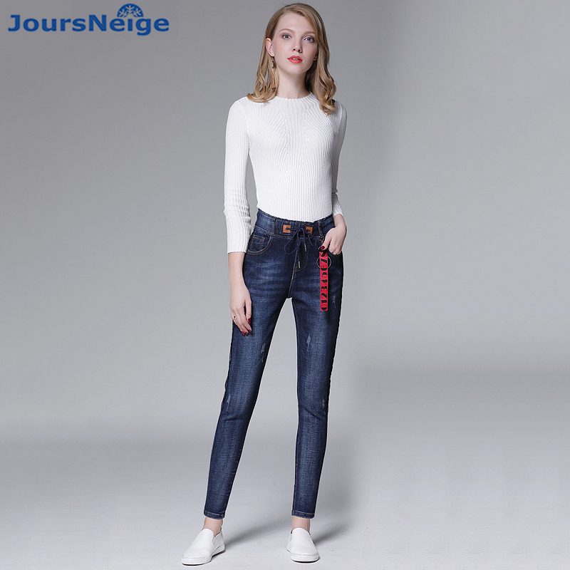 2017 Womens Jeans New Female Casual Elastic Waist Stretch Blue Jeans Plus Size 34 Slim Denim Long Cross Pants Lady Trousers women jeans large size high waist autumn 2017 blue elastic long skinny slim jeans trousers large size denim pants stretch female
