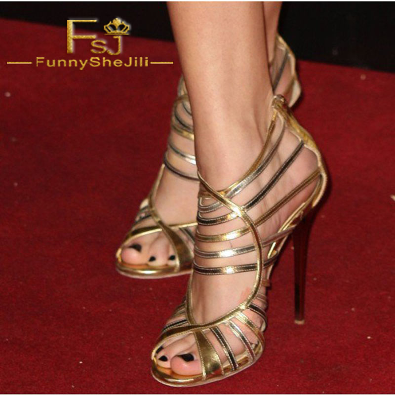 Gold Evening Shoes Strappy Sandals Open Toe Stiletto Heels Incomparable Generous Elegant Attractive Fashion Noble FSJ Sexy