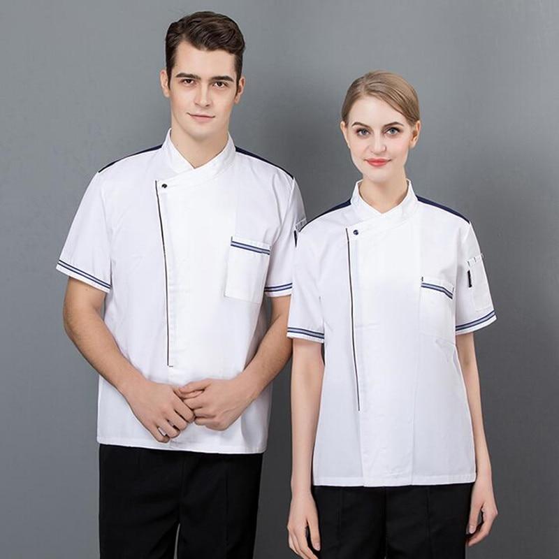 Hotel Chef's Workwear Short Sleeve Restaurant Kitchen Summer Uniform Dining Fast Food Shop Plus Size Unisex Cook Overalls H2071