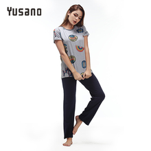 Yusano 2017 Sleepwear Cotton O neck Short Sleeve Pijama De Unicornio Cute Print Blue Grey (T shirt +Long Pants) Sleep Nightwear