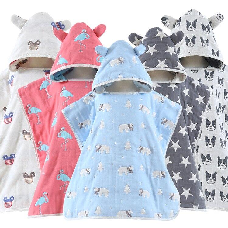 2018 Comfortable Baby Bathrobe 100% cotton Cute Animal Cartoon Babies Blanket Kids Hooded Bathrobe Toddler Baby Bath Towel