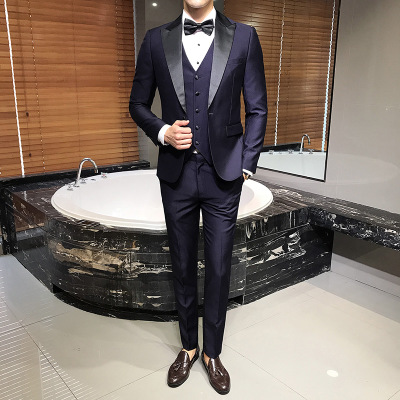 Groom Men Suits for Wedding Slim Fit Terno Completo 3 Pieces Formal Tuxedo Navy Blue Ternos Costume Homme heren pakken 2019(China)