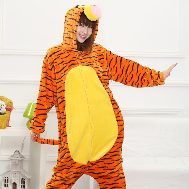 unisex tigger costumes halloween tiger pajamas japan cosplay clothes fancy dress cos jumpsuits animal onesies for