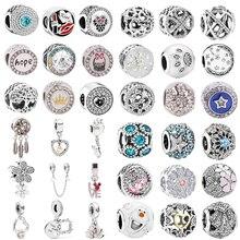Fit Original Pandora Charms Silver Bracelet Trinket Jewelry For Women New Simple Style Big Ball Stars Crystal Flowers DIY Bead