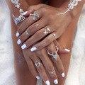 Nuevo accesorio de moda de la vendimia de plata plateado ciervos alces flecha anillo de dedo set 1 lote = 6 piezas para la mujer chica bonito regalo J-157