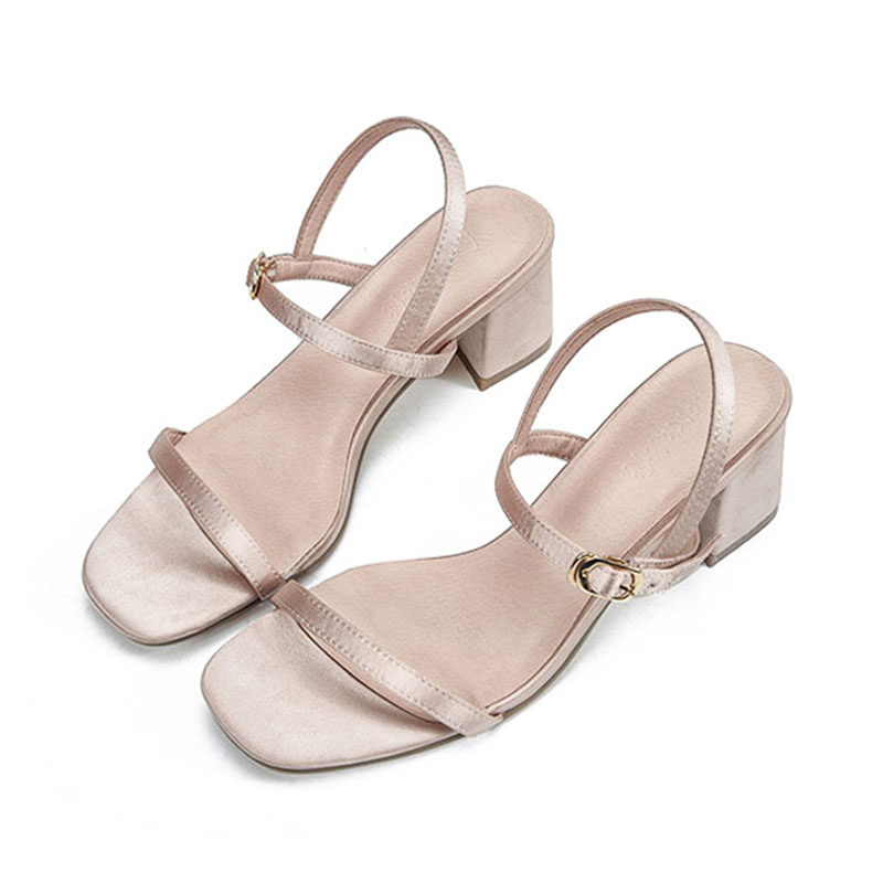 luxury silk narrow band sandals women party dress shoes open toe chunky  heel platform sandals ladies buckle belt wedding shoes -in High Heels from  Shoes on ... a5d06afc925f