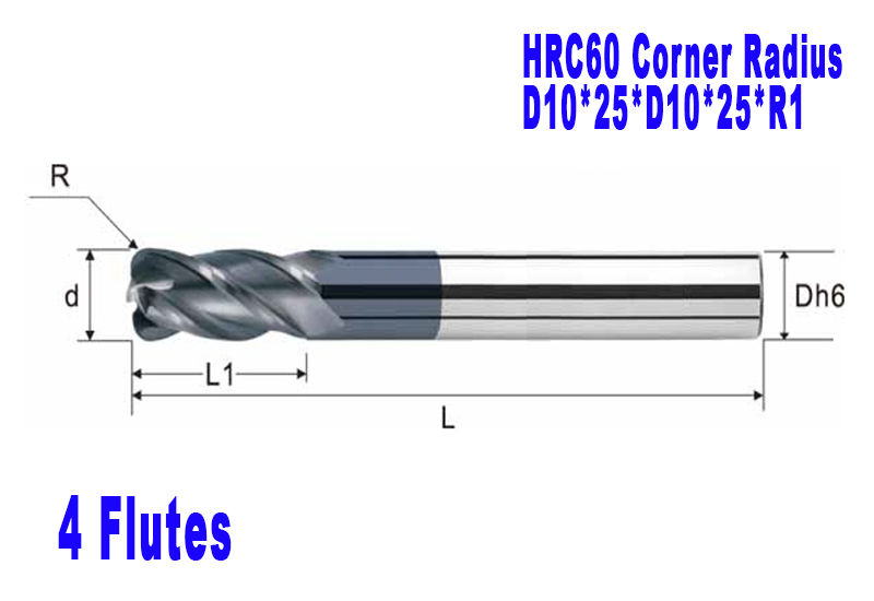 10mm 4 Flutes corner Radius End mill hrc60 with coating Spiral Bit Milling Carbide CNC  Router bits  D10*25*D10*75*R1  цены
