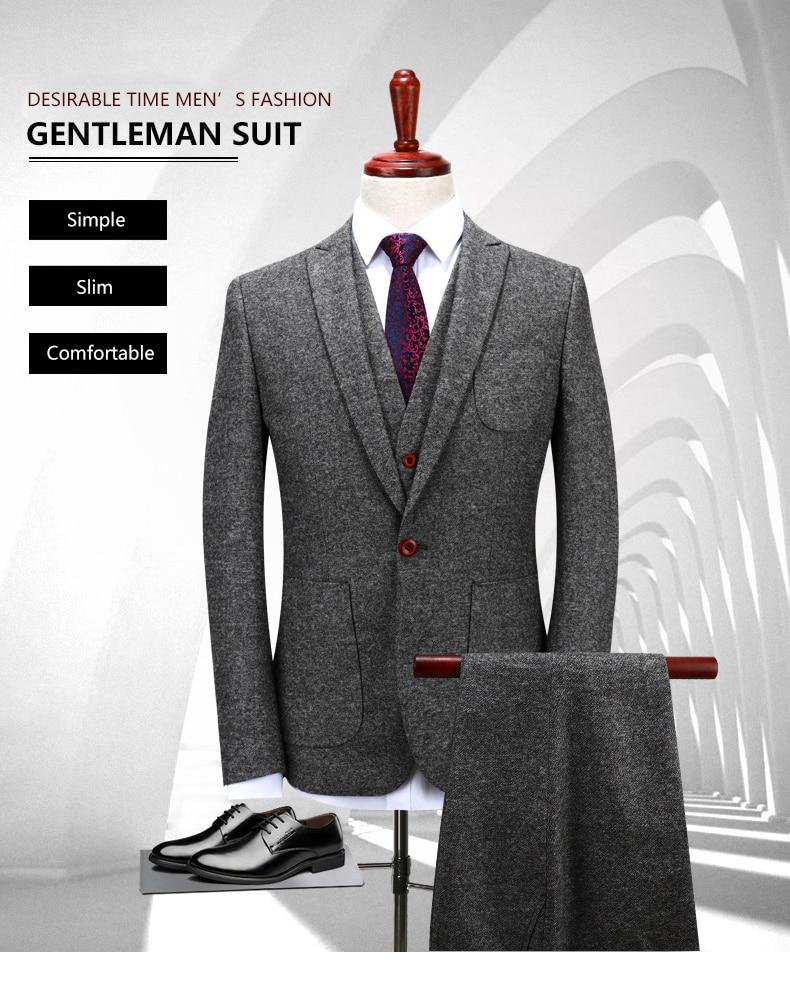 Deseable tiempo mens lana gris Trajes boda del novio s-4xl moda ...