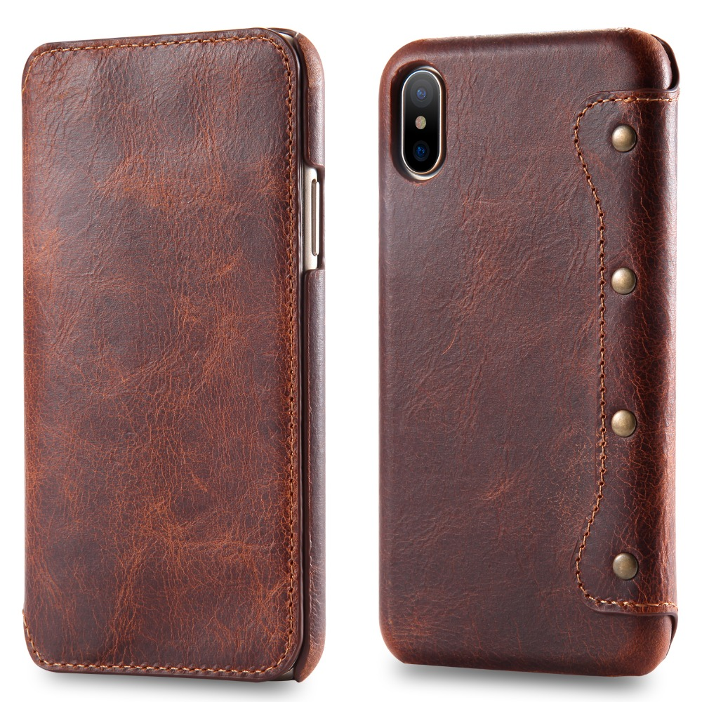 New luxury brand genuine leather <font><b>case</b></font> for apple iphone X flip cover with <font><b>card</b></font> holder and wallet <font><b>iphoneX</b></font> style image
