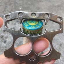 купить Durable Stainless Steel Skeleton Shape Beer Bottle Opener Window Breaking Tool Brass Knuckles for Self Defense дешево