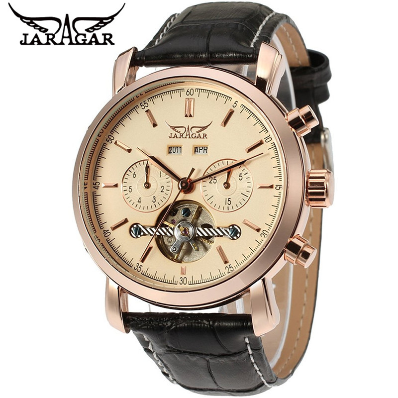 ФОТО JARAGAR  Watches Men's Tourbillon Day Week Year Watch Auto Mechanical Wristwatch Box Ship