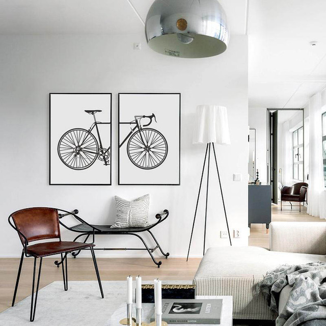 Best Selling New Nordic Black And White Two Style Simple Fashion Industry Bike Living Room
