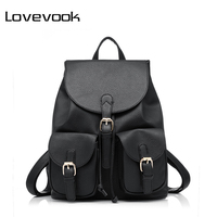 Realer Brand Preppy Style School Backpack Pu Leather Fashion Women Shoulder Bag With Two Solid Pocket