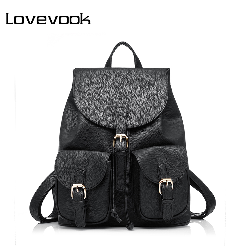LOVEVOOK Brand Preppy Style School Backpack Artificial Leather Fashion Women Shoulder Bag With Two Solid Pocket For Teens Girls lowepro protactic 450 aw backpack rain professional slr for two cameras bag shoulder camera bag dslr 15 inch laptop