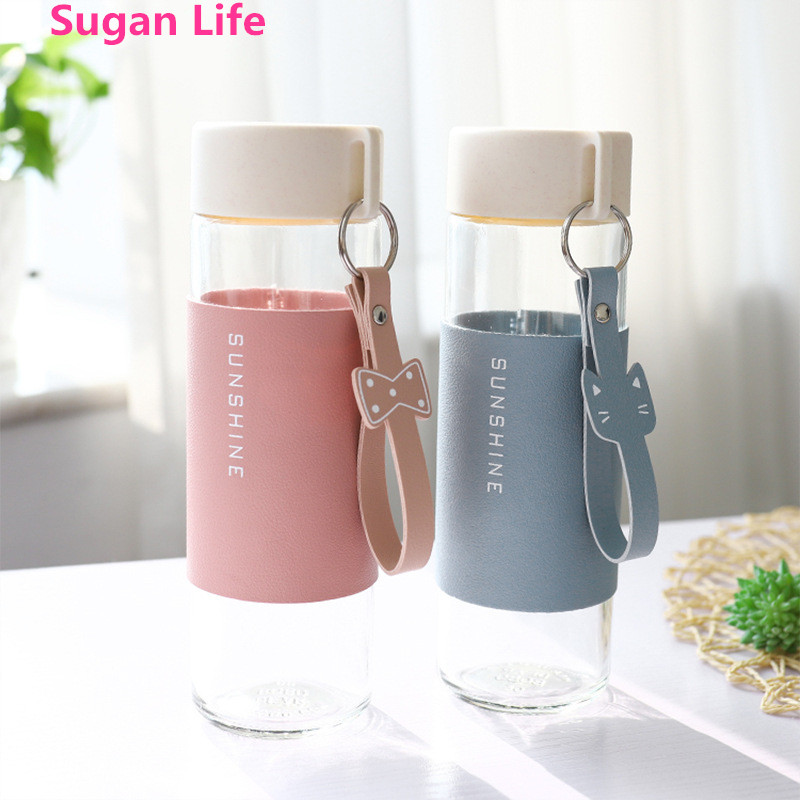 NEW 395ML Cute Simple Water Cup PU Cup Sleeve Travel Mug Portable Water Bottle Sports Mug Coffee Cup with Lid Car Water Bottle