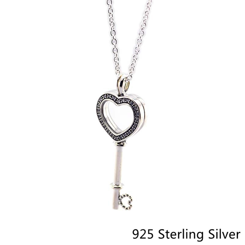 CKK 925 Sterling Silver Floating Locket Heart Key Necklace