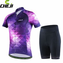 CHEJI Bike Jersey Ropa Ciclismo Girls Purple Bicycle Clothing Short Sleeve Women Cycling Jersey Padded Shorts