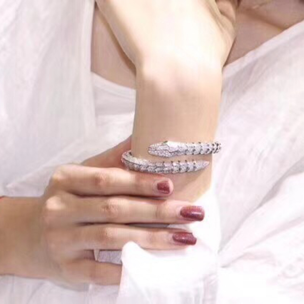 2018Top Brand Pure 925 Sterling Silver Jewelry For Women Snake Thick Bracelet Fine Custom Jewelry Bracelet