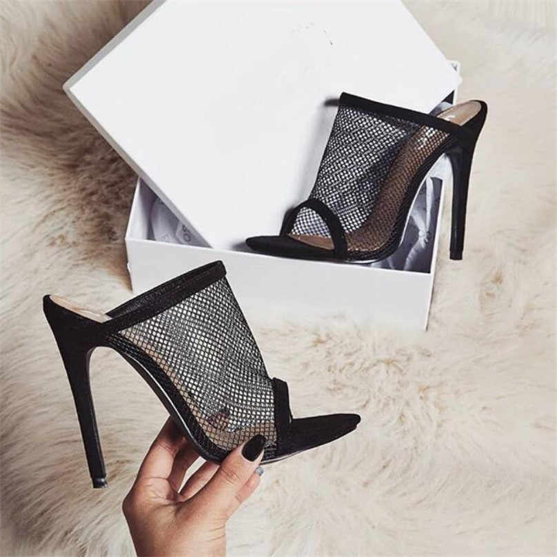 b4ffe5d6241 Detail Feedback Questions about BAYUXSHUO Summer Sandals Women mules High  Heels Mesh Openwork Stiletto Sexy Rome Slingback Sandals Fetish Club Party  Shoes ...