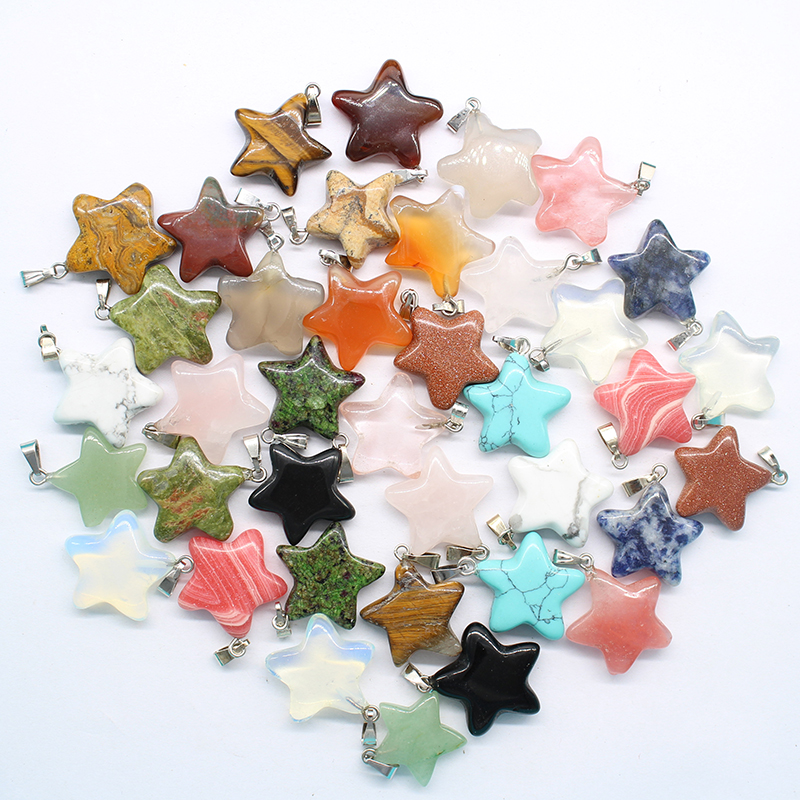 2017 New Products Sell Like Hot Cakes Style Mixed Color Natural Stone Star Pendant DZ152 Necklace Pendant 30 Wholesale, Free Shi
