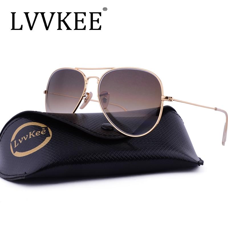 LVVKEE 브랜드 유리 렌즈 조종사 선글라스 남성 여성 - 의류 액세서리
