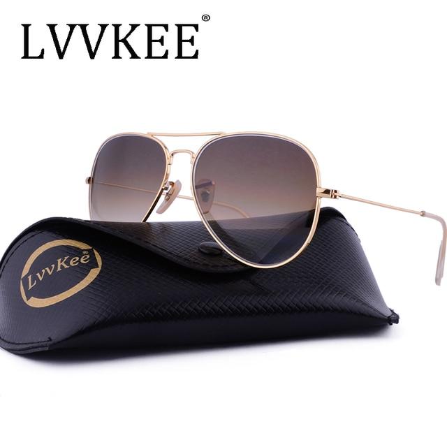 c7d919e11d LVVKEE marca lentes de cristal pilotos gafas de sol hombres mujeres 58mm  gradiente G15 espejo gafas
